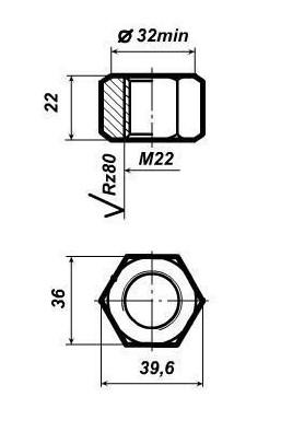 Гайка М22 для закладного и клеммного болта