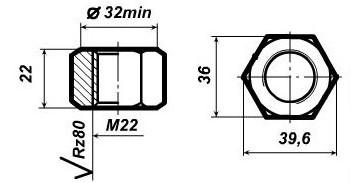 Гайка М22 для стыкового болта