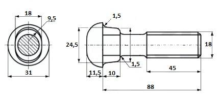 Болт стыковой М18х88