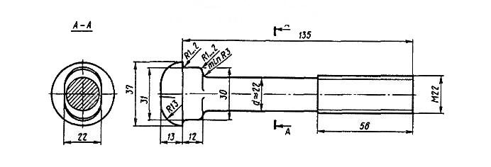 Болт стыковой М22х135