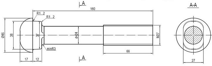 Болт стыковой М27х160